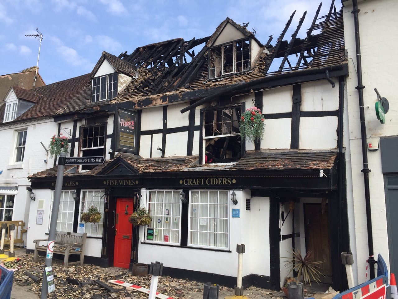 The aftermath of the fire at The Three Tuns pub on Alcester High Street