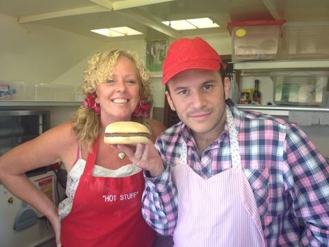 Wendy Arnold in her burger van with Richie Firth