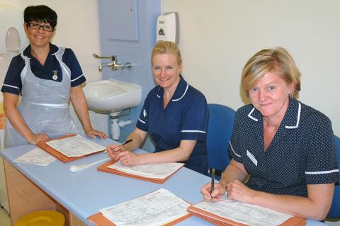 Michelle Chester and Alison Harrison, chemotherapy nurses and Fay Lanham, lead oncology nurse