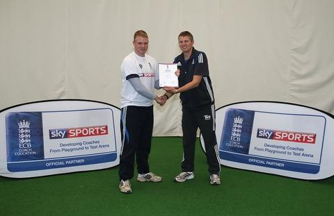 Recognition: Thomas Harris receives his award from Peter Such.