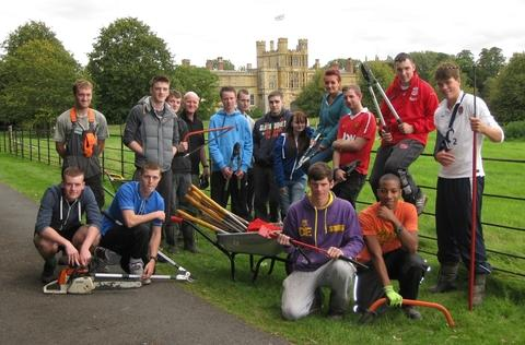 NEW College students prepare for voluntary work at Coughton Court.