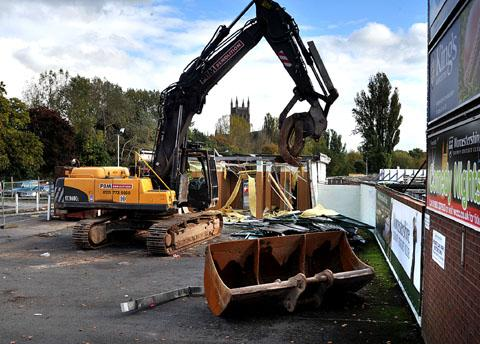 CRACKING ON: Demolition work starts at New Road in preparation for the 120-bedroom Premier Inn hotel as well as new offices and conferencing facilities.