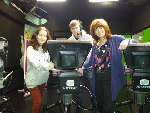 Midlands Today presenter Joanne Malin with students Thomas Williams and Lily Cotelo.