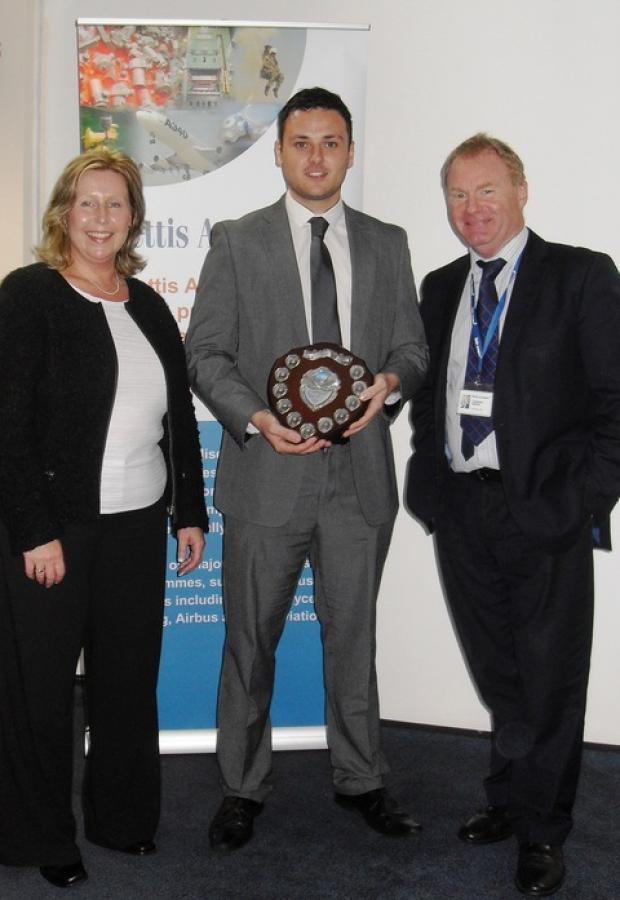 Apprentice of the year Alex Read with Sara Andrews and Lawrence Jenkins from Mettis Aerospace.