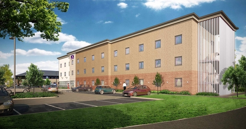 Work started: How the Dudley Premier Inn will look.