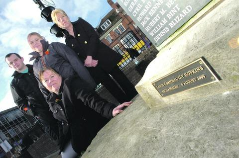 Redditch Advertiser: Kevin Phillips, Sara Hopkins and Wanda King help Sue Hopkins unveil the plaque to Lance Corporal Dale Hopkins. Buy photo: RMM471201a.