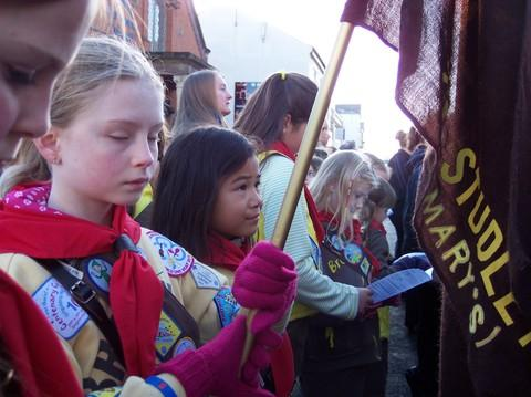 2nd Studley (St. Mary's) Brownie Hannah Sheppard pauses to rememember