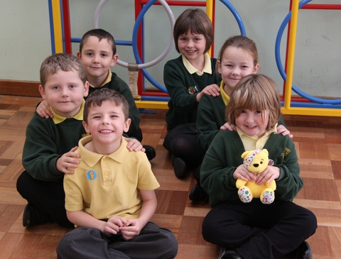 Woodrow First School take part in a synchronised massage for Children in Need