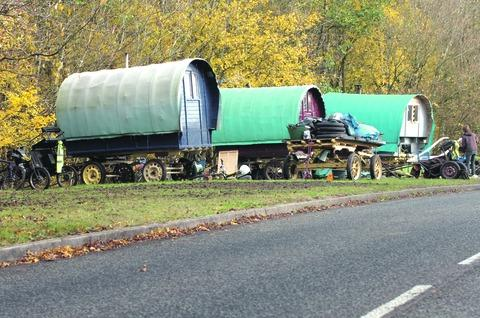 The travellers' wagons on Hunt End Lane