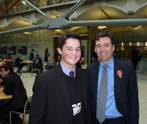 Redditch Advertiser: Young Acorns Hospice supporter Harry Bishop meets Andy Burnham, the former shadow health secretary.