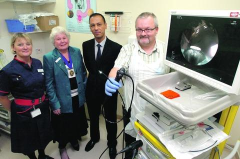 Head of nursing Jane Smith, with League of Friends chairman Pat Hadley, Dr Abhi Lal, and Marek Waliszewski, unit manager of Endoscopy, with the new equipment. Buy photo:RMM491201a