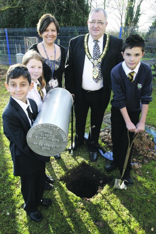 Just a matter of time: Deputy headteacher Linda Tait and mayor Alan Mason with Anthony Ellinas, Jasmine Goodman and Jake Browning