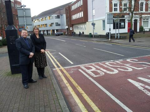 Councillors Brandon Clayton and Jane Potter are reopening the bus lane in Redditch town centre on a 12 month trial.