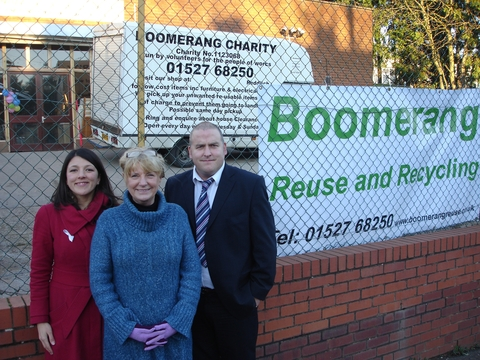 Labour parliamentary candidate Rebecca Blake, with Boomerang manager Pauline Thorne and Redditch borough councillor Joe Baker outside the new Boomerang centre.