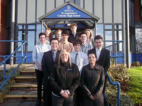 Oakland International's general manager and business support manager Lynsey McIntosh and Lian Higgitt (front) with St Augustine's Young Enterprise team