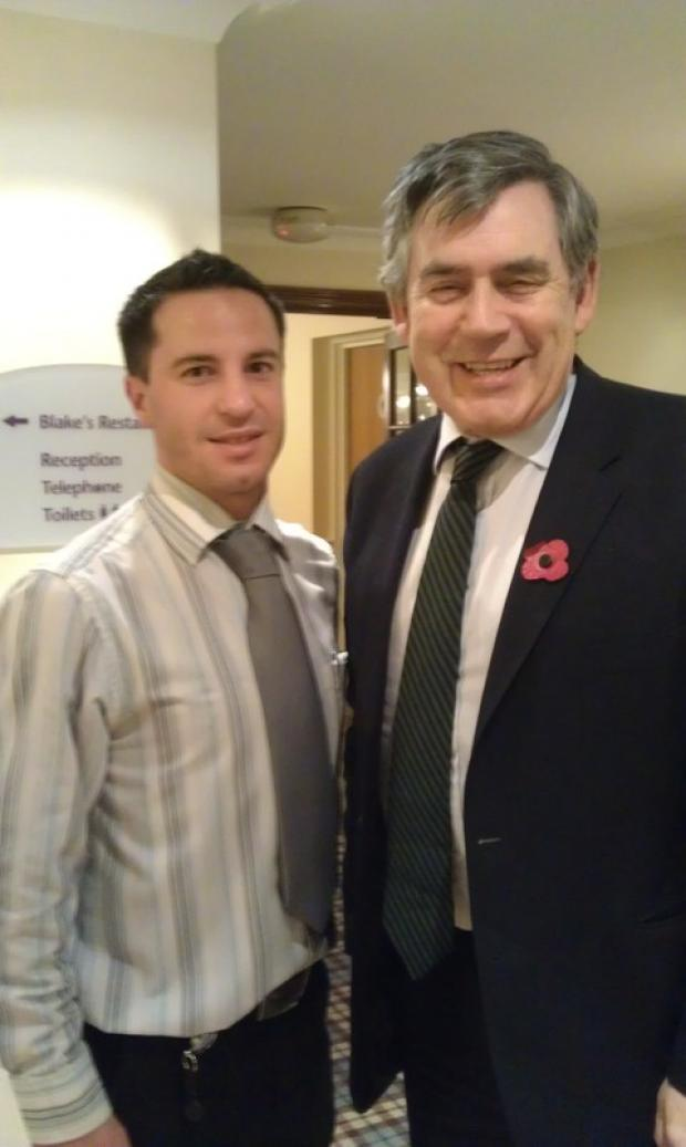 Redditch Advertiser: Alistair Darrall and Gordon Brown at the Westmead Hotel