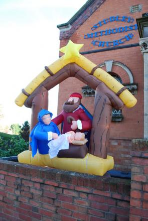 The inflatable nativity scene at Studley Methodist Church
