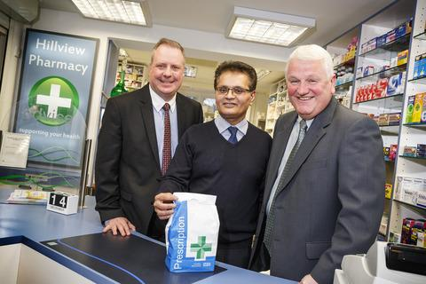 Kiran Patel, from Scriptcare Limited (centre), with Phil Garrattley and Mark Pawson from Lloyds TSB Commercial