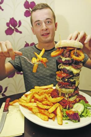 BRAVE: Sam Veness taking on the Man Vs Food style challenge at The Duck Inn