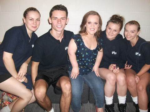 Tasmin Jones, Bobby Thomas, Rozina Jones and Sophie Trevis-Smith with Paralympic gold medallist Ellie Simmonds