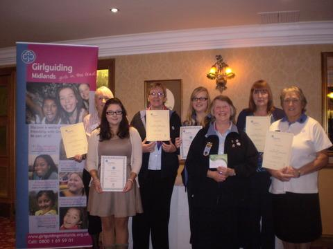 Redditch Girlguiding leaders Val Locke, Di Mowatt, Alex Brazier and Jenny Cole with (front) Laura Carter, Di Hill and Pat Coles.at Stone Manor Hotel