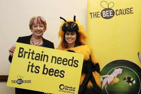 Karen Lumley MP and giant Friends of the Earth bee.