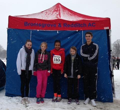 Snow fear: Bromsgrove and Redditch quartet Megan Nicod, Livvy Worth, Eva James, Amy Mijovic-Couldwell and James Downing