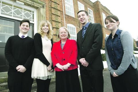 Harry Bishop, 16, Sophie Beer, 17, headteacher Marion Barton, Adam Chambers, 17, and Caitlin Walshe, 16. Buy this photo RCR051306_a