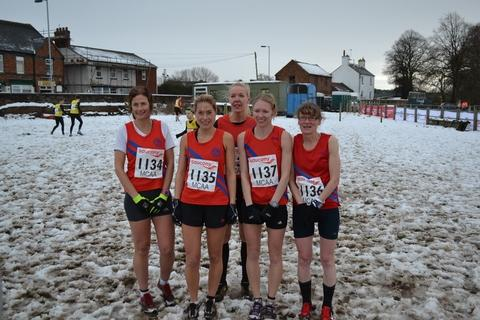 Redditch Advertiser: Snow joke: Bromsgrove and Redditch AC's senior women's quintet of Katy Anderson, Melanie Hepke, Tamara Ball, Charlotte Ball and Jane Anderson.