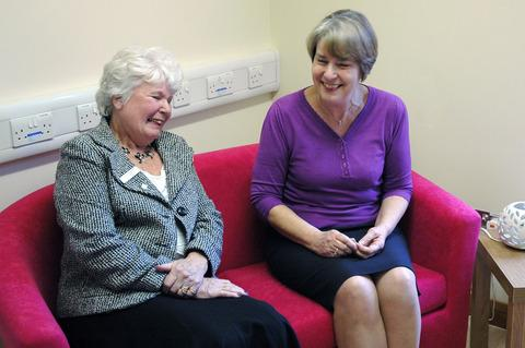 Pat Hadley, League of Friends chair with Joan Muir, senior capacity manager in the new carers' area
