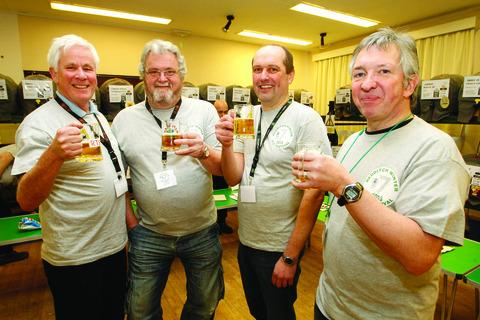 CHEERS! Richard Scarth, Simon Vickers, Richard Wood and Kevin Joyce raising a glass or two
