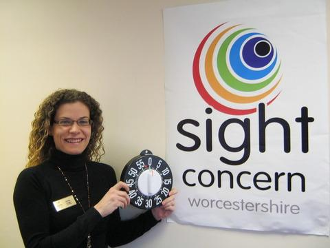 Sight Concern Worcestershire chief officer, Jenny Gage, helps launch the appeal
