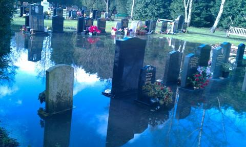 The water-logged cemetery at Wythall