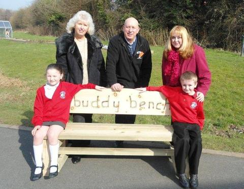 Breeya Lawler and Mason Lees, both six, with Councillor Gay Hopkins, Mick Dawson from Where Next, and Councillor Juliet Brunner