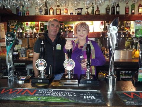 Karen Lumley at The Wheelbarrow Castle in Inkberrow with owner Nigel Morris