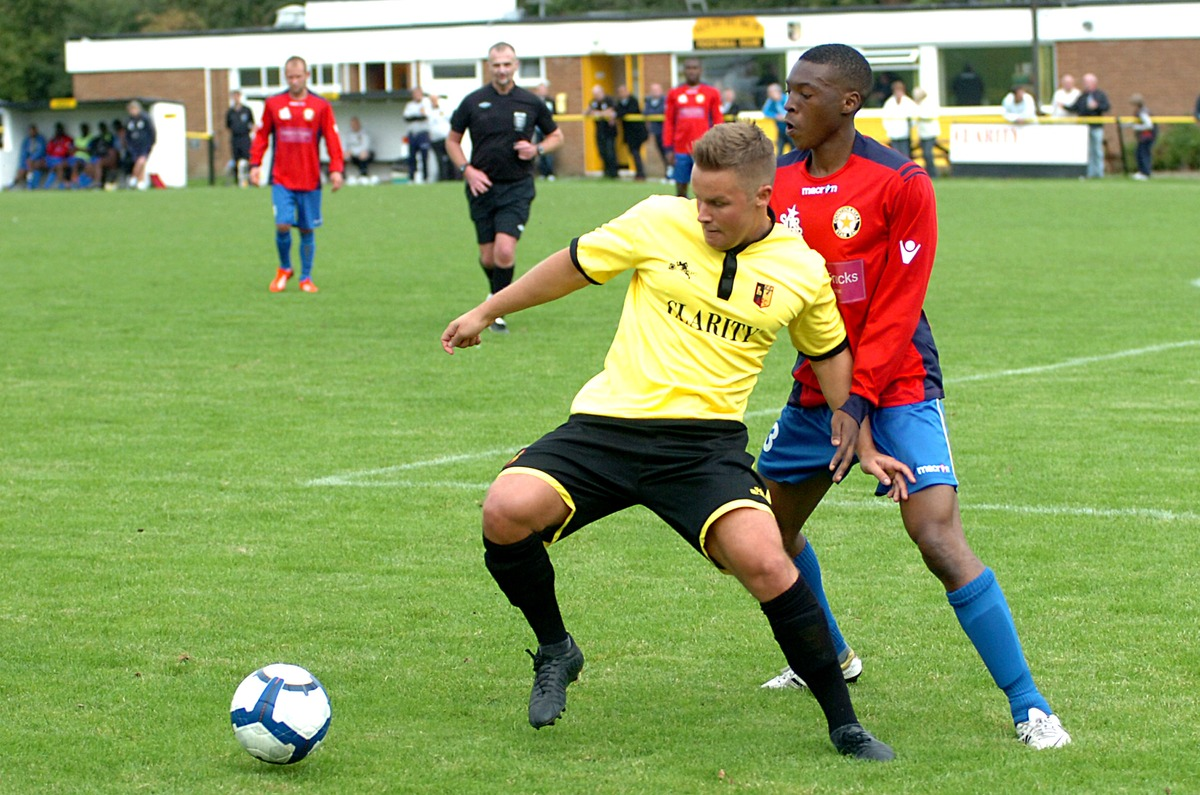 New addition: Jamie Spencer, pictured playing for Alvechurch, has joined Redditch United from Rushall Olympic.