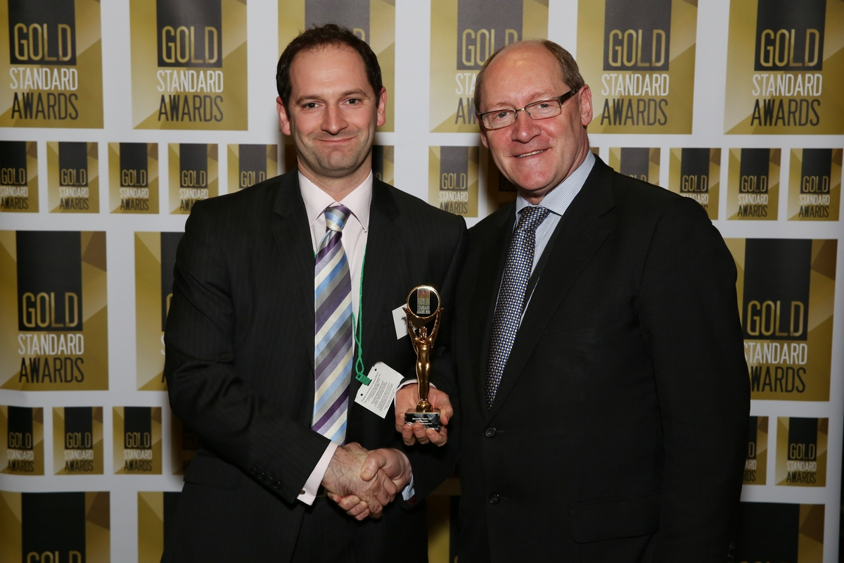 Forward thinking: Philip Haden, left, with MP Jonathan Evans, chairman of the All Party Parliamentary Group on Insurance and Financial Services at the Gold Standard Awards ceremony.