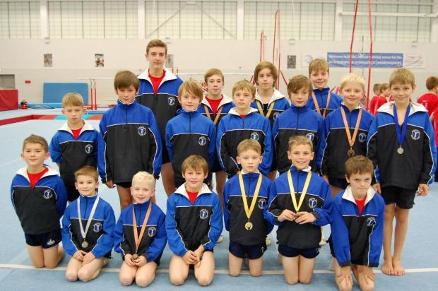 Mighty Midlands showing: The boys team from Worceseter Gym Club won nine medals at the West Midlands Champs.