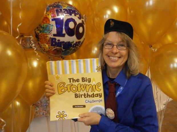 Redditch Advertiser: Studley Brownie leader Caroline Ford with the Big Brownie Birthday Challenge. SP