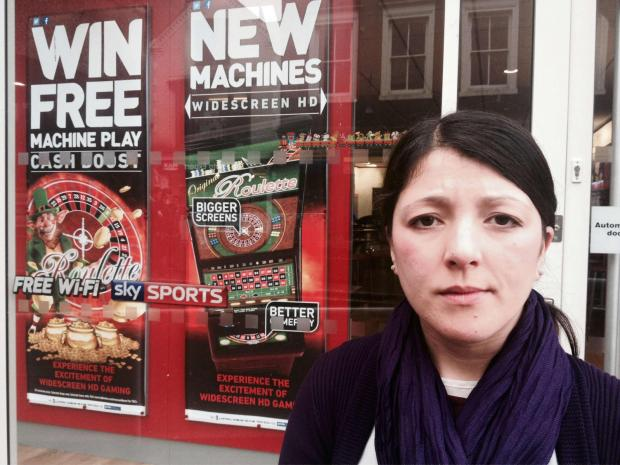 Labour's parliamentary spokesman for Redditch, Rebecca Blake, outside one of Redditch's nine betting shops. SP