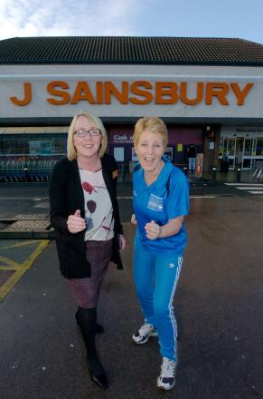 Sainsbury's store manager Sharon Neal and Redditch Council's health Intervention officer Hayley Gwilliam. Buy this photo RMM031404 at redditchadvertiser.co.uk/pictures or call 01527 889027.