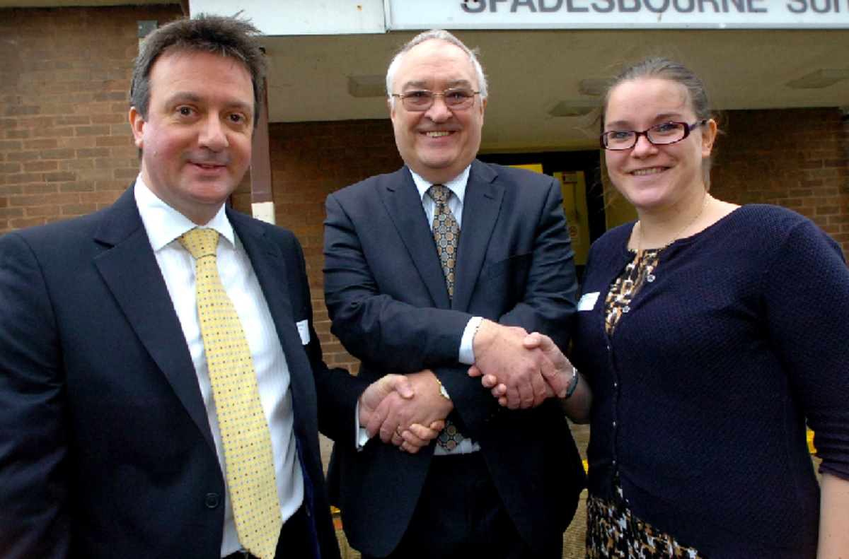SUCCESSFUL EVENT: Bromsgrove District Council leader Roger Hollingworth with Gareth Kings, business development manager at Thorlux Lighting and Hannah Snell, managing director of the Very Good Translation Company. Buy photo BMM0414010