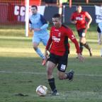 Redditch Advertiser: Man of the moment: Jermaine Hylton bagged a hat-trick against Cambridge City. Picture: CRAIG ROSS