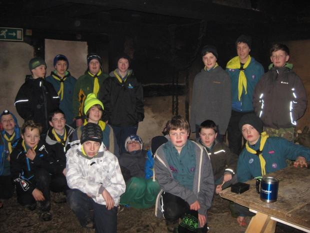 Redditch Advertiser: First Astwood Bank scout group in the Tudor Town House at Avoncroft. SP