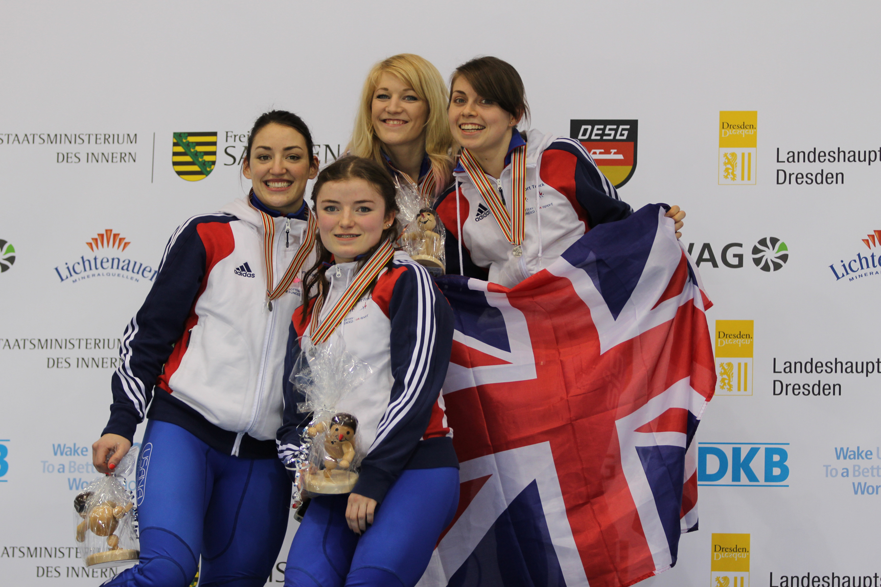 Ready for Russia: Charlotte Gilmartin (left) relay team-mates Elise Christie, Alex Stanley and Kathryn Thomson.