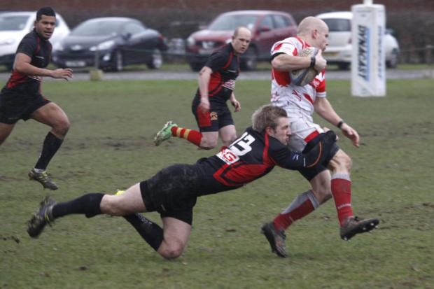 Action from Alcester's Claverdon clash.