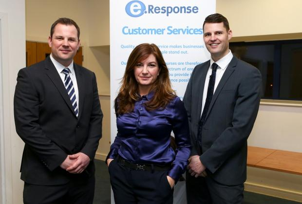 Karren Brady alongside Redditch brothers and founders of the firm, Joe and Paul Alekna.