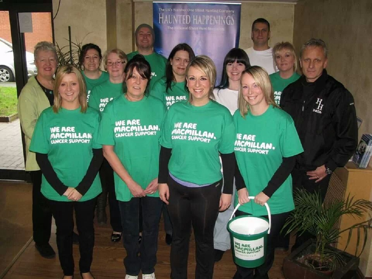 Members of the Macmillan Ghost Hunters, along with supporters, and representatives from Haunted Happenings. SP