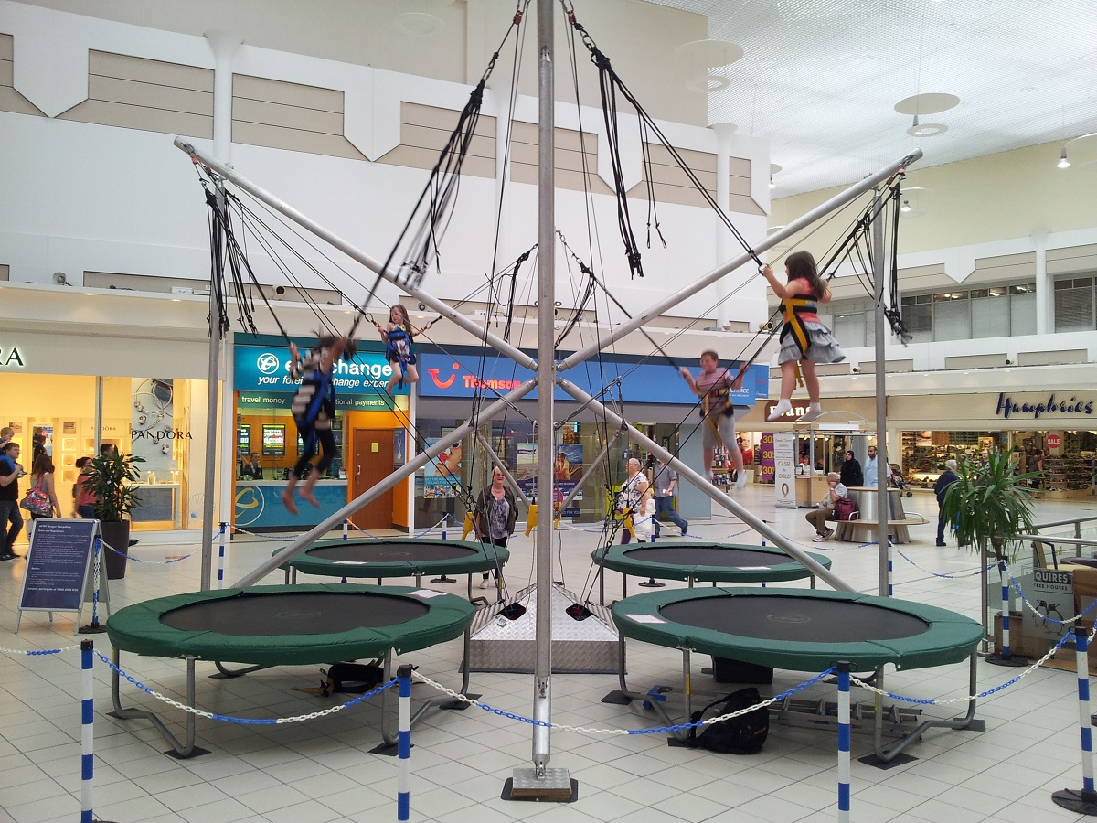 Youngsters can enjoy some bungee fun in the Kingfisher Shopping Centre this half term. SP