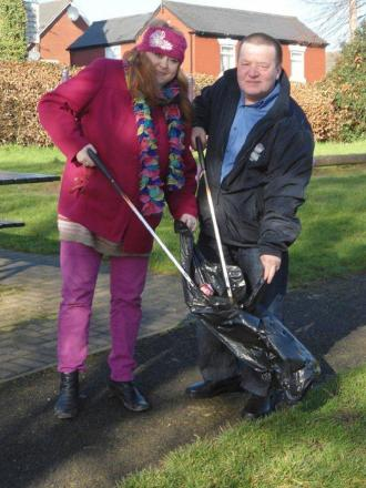 Councillor Brandon Clayton is joined by Councillor Juliet Brunner for the pre-spring clean. SP